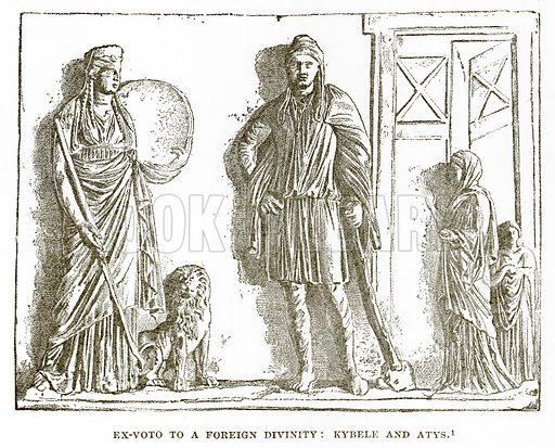 Ex-Voto to a Foreign Divinity: Kybele and Atys. Illustration from History of Greece by Victor Duruy (Boston, 1890).