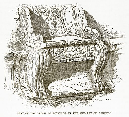 Seat of the Priest of Dionysos, in the Theatre of Athens. Illustration from History of Greece by Victor Duruy (Boston, 1890).