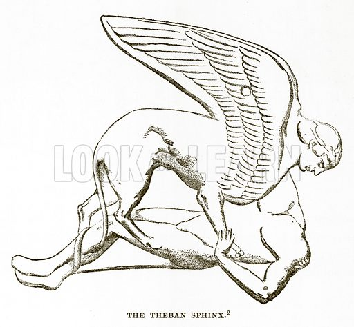 The Theban Sphinx. Illustration from History of Greece by Victor Duruy (Boston, 1890).