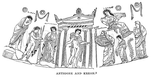 Antigone and Kreon. Illustration from History of Greece by Victor Duruy (Boston, 1890). Digitally cleaned image.