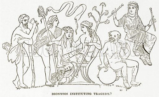 Dionysos Instituting Tragedy. Illustration from History of Greece by Victor Duruy (Boston, 1890).