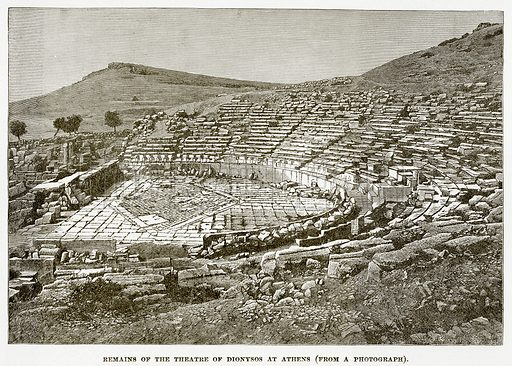 Remains of the Theatre of Dionysos at Athens. Illustration from History of Greece by Victor Duruy (Boston, 1890).