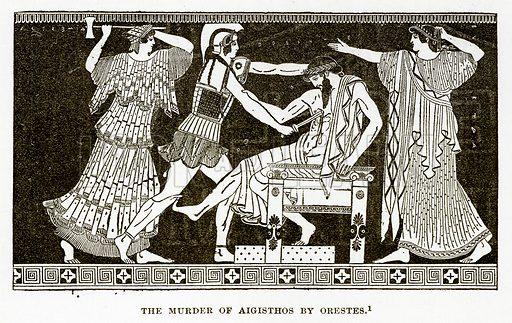 The Murder of Aigisthos by Orestes. Illustration from History of Greece by Victor Duruy (Boston, 1890).