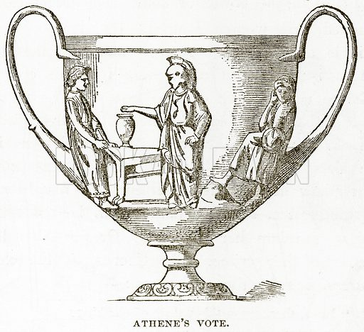 Athene's Vote. Illustration from History of Greece by Victor Duruy (Boston, 1890).