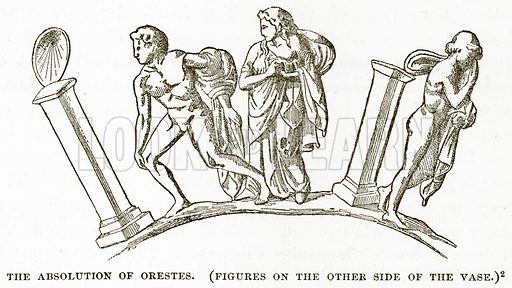 The Absolution of Orestes. (Figures on the other side of the Vase.) Illustration from History of Greece by Victor Duruy (Boston, 1890).