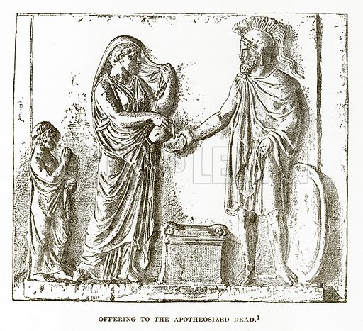 Offering to the Apotheosized Dead. Illustration from History of Greece by Victor Duruy (Boston, 1890).