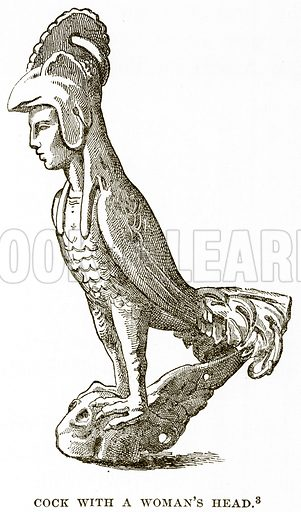 Cock with a Woman's Head. Illustration from History of Greece by Victor Duruy (Boston, 1890).