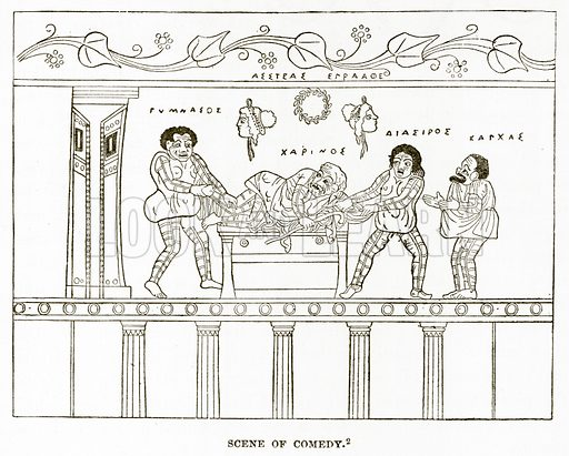 Scene of Comedy. Illustration from History of Greece by Victor Duruy (Boston, 1890).