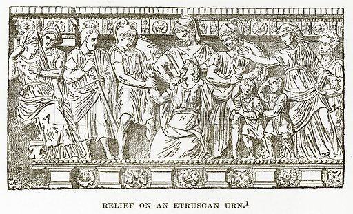 Relief on an Etruscan Urn. Illustration from History of Greece by Victor Duruy (Boston, 1890).
