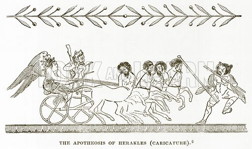 The Apotheosis of Herakles (Caricature). Illustration from History of Greece by Victor Duruy (Boston, 1890).