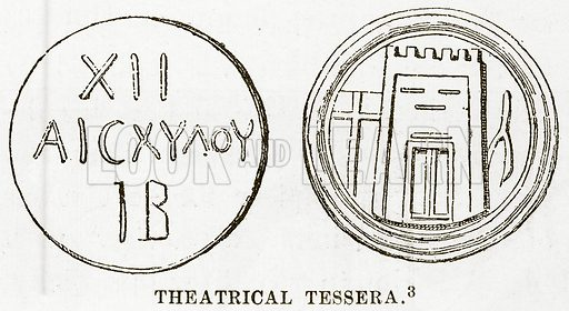 Theatrical Tessera. Illustration from History of Greece by Victor Duruy (Boston, 1890).