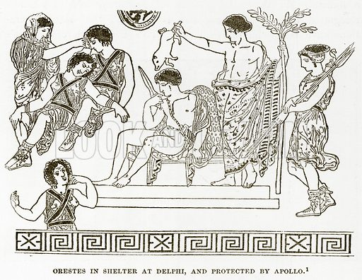 Orestes in Shelter at Delphi, and protected by Apollo. Illustration from History of Greece by Victor Duruy (Boston, 1890).