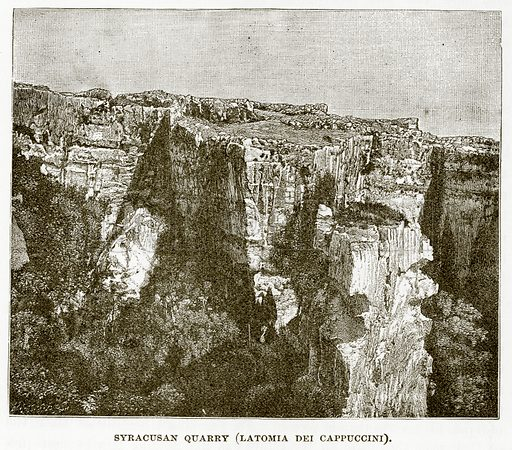 Syracusan Quarry (Latomia Dei Cappuccini). Illustration from History of Greece by Victor Duruy (Boston, 1890).