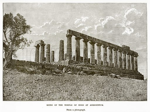 Ruins of the Temple of Here at Agrigentum. Illustration from History of Greece by Victor Duruy (Boston, 1890).