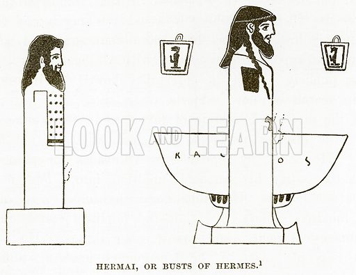 Hermai, or Busts of Hermes. Illustration from History of Greece by Victor Duruy (Boston, 1890).