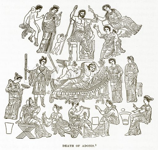 Death of Adonis. Illustration from History of Greece by Victor Duruy (Boston, 1890).