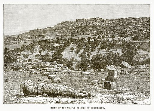 Ruins of the Temple of Zeus at Agrigentum. Illustration from History of Greece by Victor Duruy (Boston, 1890).