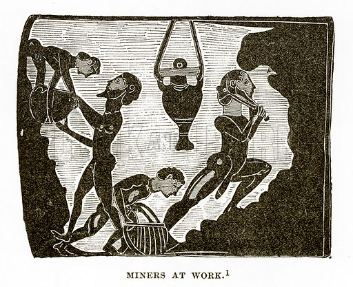 Miners at work. Illustration from History of Greece by Victor Duruy (Boston, 1890).
