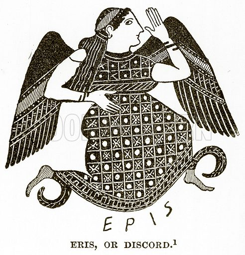 Eris, or Discord. Illustration from History of Greece by Victor Duruy (Boston, 1890).