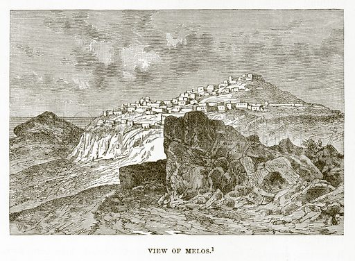 View of Melos. Illustration from History of Greece by Victor Duruy (Boston, 1890).