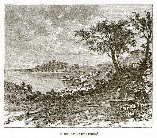 View of Zakynthos. Illustration from History of Greece by Victor Duruy (Boston, 1890).