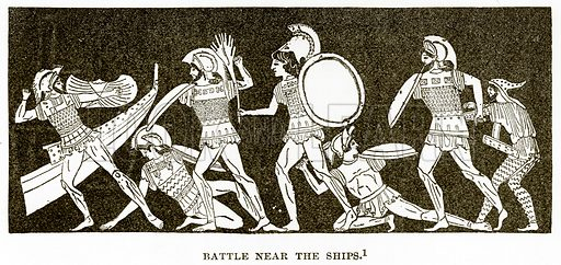 Battle near the Ships. Illustration from History of Greece by Victor Duruy (Boston, 1890).