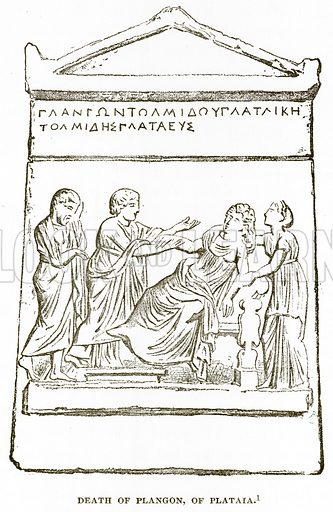 Death of Plangon, of Plataia. Illustration from History of Greece by Victor Duruy (Boston, 1890).