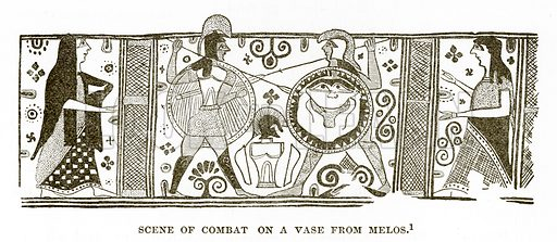Scene of Combat on a Vase from Melos. Illustration from History of Greece by Victor Duruy (Boston, 1890).
