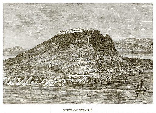 View of Pylos. Illustration from History of Greece by Victor Duruy (Boston, 1890).