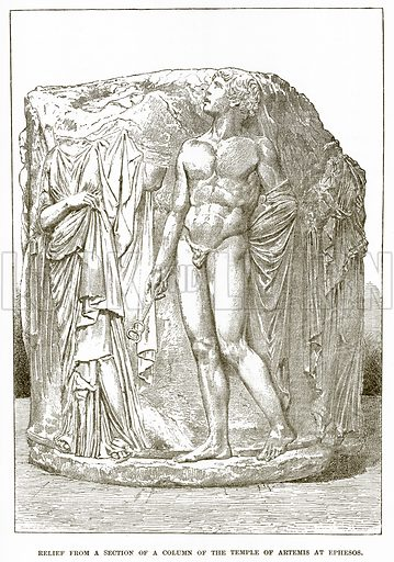 Relief from a section of a column of the Temple of Artemis at Ephesos. Illustration from History of Greece by Victor Duruy (Boston, 1890).