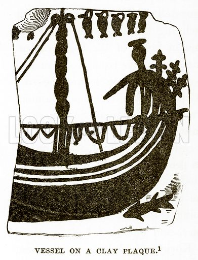 Vessel on a Clay Plaque. Illustration from History of Greece by Victor Duruy (Boston, 1890).