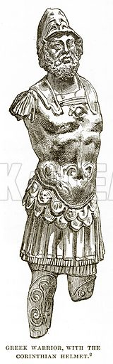 Greek Warrior, with the Corinthian Helmet. Illustration from History of Greece by Victor Duruy (Boston, 1890).
