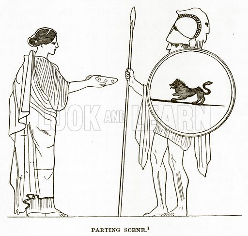 Parting Scene. Illustration from History of Greece by Victor Duruy (Boston, 1890).