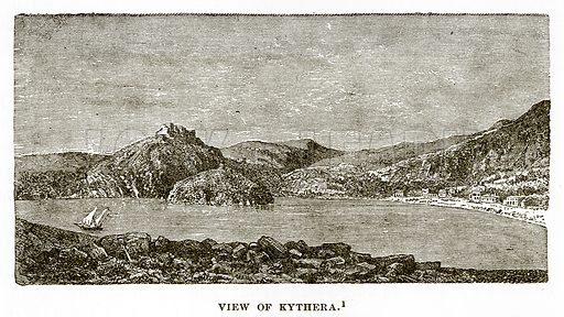 View of Kythera. Illustration from History of Greece by Victor Duruy (Boston, 1890).