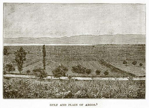 Gulf and Plain of Argos. Illustration from History of Greece by Victor Duruy (Boston, 1890).