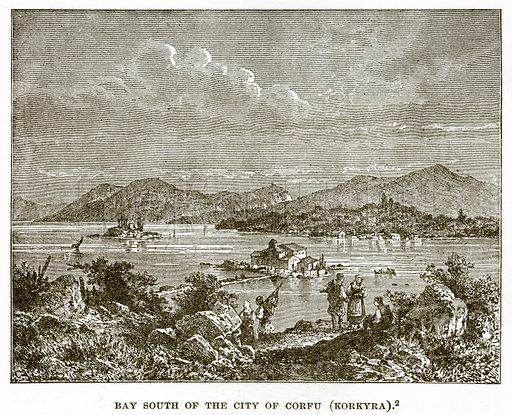 Bay South of the City of Corfu (Korkyra). Illustration from History of Greece by Victor Duruy (Boston, 1890).