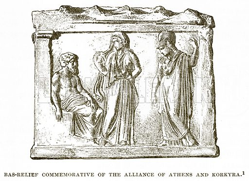 Bas-Relief commemorative of the Alliance of Athens and Korkyra. Illustration from History of Greece by Victor Duruy (Boston, 1890).