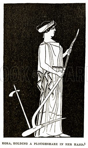 Kora, holding a Ploughshare in her hand. Illustration from History of Greece by Victor Duruy (Boston, 1890).