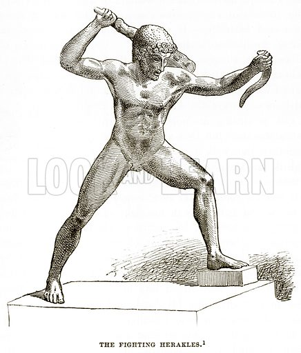 The Fighting Herakles. Illustration from History of Greece by Victor Duruy (Boston, 1890).