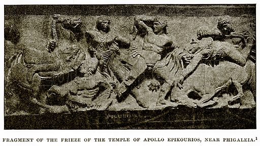 Fragment of the Frieze of the Temple of Apollo Epikourios, near Phigalea. Illustration from History of Greece by Victor Duruy (Boston, 1890).