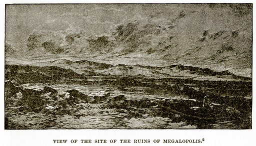 View of the site of the ruins of Megalopolis. Illustration from History of Greece by Victor Duruy (Boston, 1890).