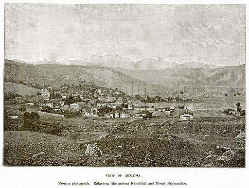 View of Arkadia. Illustration from History of Greece by Victor Duruy (Boston, 1890).