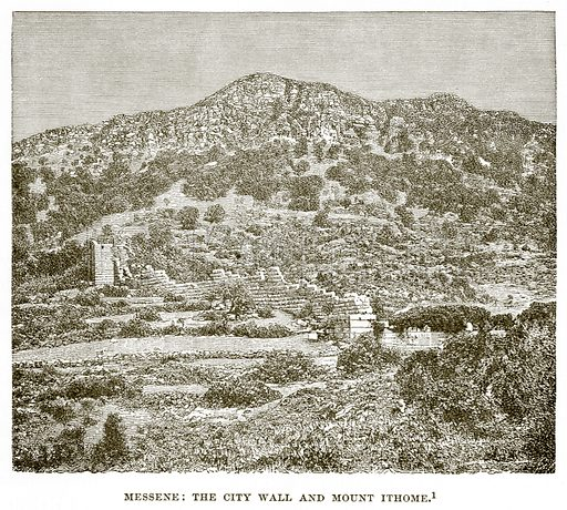 Messene: The City Wall and Mount Ithome. Illustration from History of Greece by Victor Duruy (Boston, 1890).