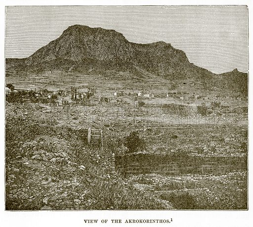View of the Akrokorinthos. Illustration from History of Greece by Victor Duruy (Boston, 1890).