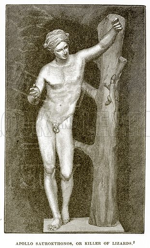 Apollo Saurokthonos, or killer of Lizards. Illustration from History of Greece by Victor Duruy (Boston, 1890).