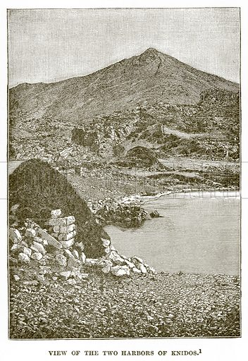 View of the Harbors of Knidos. Illustration from History of Greece by Victor Duruy (Boston, 1890).