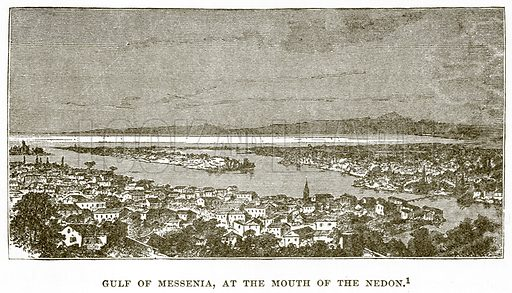 Gulf of Messenia, at the Mouth of the Nedon. Illustration from History of Greece by Victor Duruy (Boston, 1890).