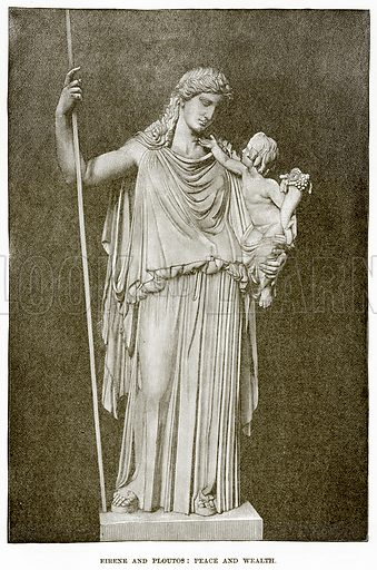 Eirene and Ploutos: Peace and Wealth. Illustration from History of Greece by Victor Duruy (Boston, 1890).