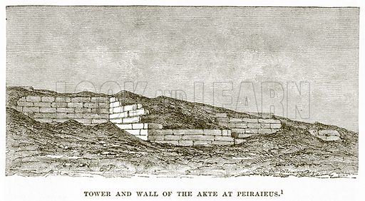 Tower and Wall of the Akte at Peiraieus. Illustration from History of Greece by Victor Duruy (Boston, 1890).