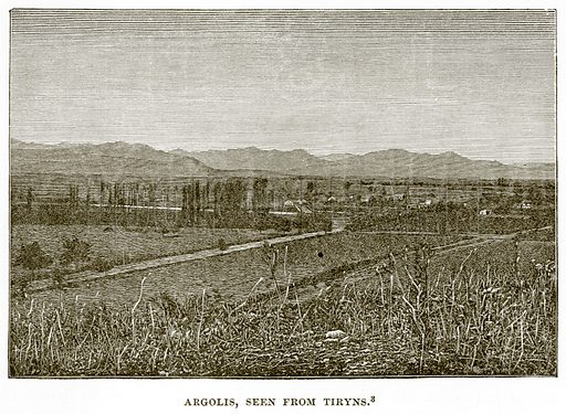 Argolis, seen from Tiryns. Illustration from History of Greece by Victor Duruy (Boston, 1890).